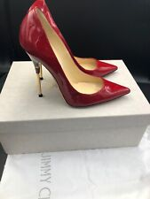 Jimmy Choo Red Patent Court Heels Pumps Gold Stiletto Shoes Size Uk 4 Eu 37