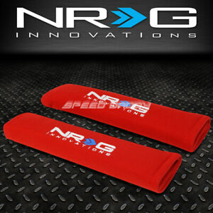 "NRG PAIR 2.7 X 11"" UNIVERSAL RACING SEAT BELT HARNESS SHOULDER COVER PAD RED"
