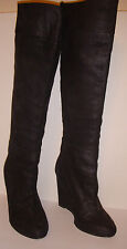 BADGLEY MISCHKA Mark and James Fred Black Leather Wedge Boots Size 7.5 M