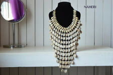 African inspired cowrie shell necklace. Tribal fashion jewelry. Gift for Her