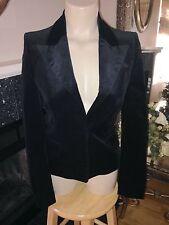 GUCCI Tom Ford Slim Black Velvet Velour FITTED Single-Button Blazer Jacket 38/2