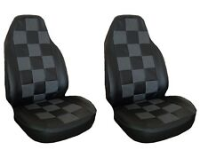 Front Seat Covers Leather Grey and Black Squares for Mini