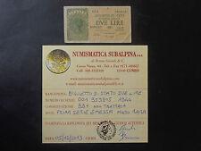 BIGLIETTO DI STATO LIRE 2 1944 PRIMA SERIE EMESSA MOLTO RARA cert BB+ SUBALPINA