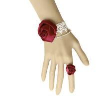 Bracelet femme blanc rouge bordeaux + Bague Dentelle Satin Gothique Mariage