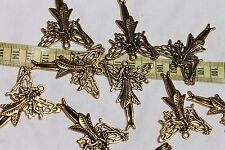49x39x3mm Butterfly Fairy w/Wand Tibetan Style Pendant ,Charm Ant. Golden /10pcs