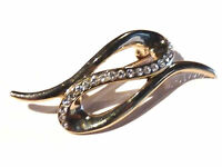 Bijou alliage doré broche créateur strass signée A ...  brooch