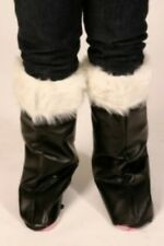 Miss Santa Father Christmas Boot Tops Covers Fur Trim Mens Ladies Fancy Dress