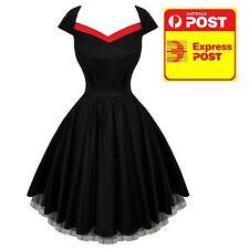 Hearts & Roses 50s Rockabilly Vintage Dress Black Formal  Prom Dress  10-20