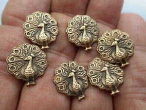 """Matching Lot of 6 Realistic Shaped Brass Peacock Buttons 5/8"""""""