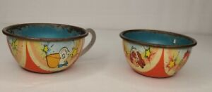 1940-50s Ohio Art #105 The Wedding 2-pc Child's Tin Dishes Soldier and Bride