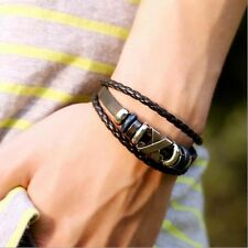 Retro Leather Bracelet Hand Strings Chain Wrist Bunch Ornaments for Man Woman