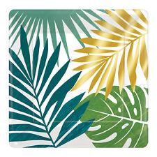 8 Hawaïen Clef Ouest Vert & Doré Feuille de Palmier Assiette 18cm Tropical