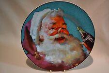 "NEW COCA COLA COKE SANTA CHRISTMAS TEAL STONEWARE 8 1/4"" PLATE"