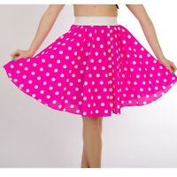 PINK POLKA DOT SKIRT FANCY DRESS ROCK N ROLL 22ins LONG VINTAGE ROCKABILLY