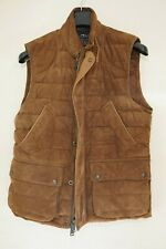 POLO RALPH LAUREN RLX DOWN VEST JACKET MEDIUM QUILTED BROWN SUEDE LEATHER