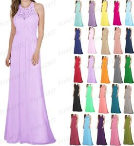 Long Chiffon Lace Evening Formal Party Ball Gown Prom Bridesmaid Dress Size 6~28