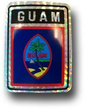 Wholesale Lot 12 Guam Country Flag Reflective Decal Bumper Sticker