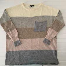 Love Stitch Striped Angora Wool Oversized Sweater L Color Block Gray Neutral