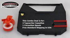 Olivetti RT7500 3 Pack Typewriter Ribbon Cartridge + Correction Tape Value Pack