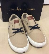 New Polo Ralph Lauren Boys' Faxon II Sneaker Khaki Canvas 10 Medium Toddler