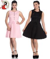 HELL BUNNY JOSEPHINE Mini DRESS pleated BLACK PINK XS-4XL