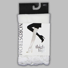 NIP! NORDSTROM LACE THIGH HIGHS/STOCKINGS w/ GRIPPY BANDS - WHITE / SIZE: C!!