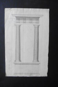 FRENCH SCHOOL 18thC - ARCHITECTURAL STUDY CLASSICAL ELEMENTS - INK DRAWING