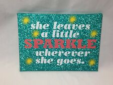 Creatology Glitter Plaque Wall Decor Green 7.25x10 She leaves a Little Sparkle