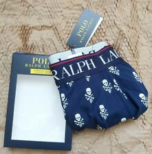 Ralph Lauren Polo 100% Authentic Mens Boxer Shorts / Medium / Blue / Scull Print