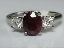 PLATINUM OVAL RUBY AND DIAMOND 3 STONE RING 5.1g