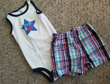 CARTER'S My First 4th Sleeveless Bodysuit and Plaid Shorts Outfit Boys 9 months