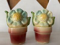 VINTAGE Salt & Pepper Shakers Flower Pots 1940s SHAWNEE POTTERY