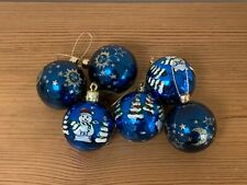 6 Blue Patterned Christmas Tree Decorations Baubles