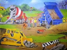 Trucks Tractors Excavator bobcat earth moving work site Boys Wallpaper Border