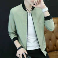 Mens Fashion Jacket Blouse Slim Baseball Coat Casual Zip Outwear Overcoat