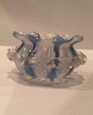 Vintage Murano Art Glass Latticino Blue & White Dish Small Bowl