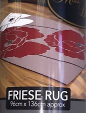 Friese Curved Red White Flower Style Runner Rug Mat Dirt Stopper