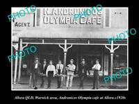 OLD POSTCARD SIZE PHOTO OF ALLORA QLD VIEW OF OLYMPIA CAFE 1920s WARWICK AREA