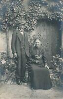 Older Couple Real Photo Postcard rppc - 1916