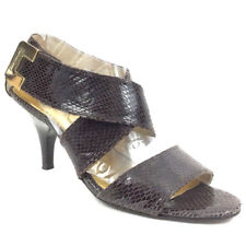 Michael Kors Women's Strappy Heels Adjustable Career Embossed Leather Brown Sz 8