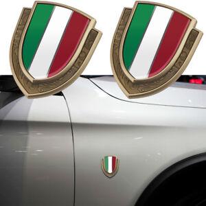 2pcs Gold Metal Italy Italian Flag Car Fender Door Side Emblems Badges Stickers