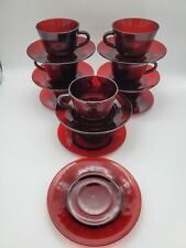 Vintage Ruby Red Glass Tea or Coffee Cups and Saucers Set of 8 + Bonus Saucer