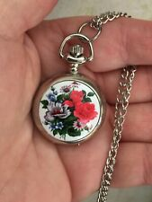women ladies flowers enamel  mini necklace pendant pocket watch silver tone