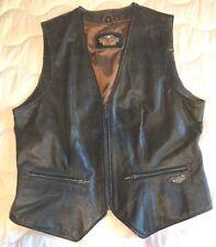 Womens Harley Davidson Leather Vest Billings Distressed Brown M Medium Zip up