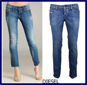 diesel jeans da donna pantaloni a vita bassa elasticizzati slim nuovi w31 44 46