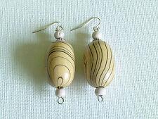 Big wooden rice bead earrings