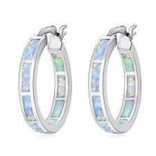 """White Fire Opal Silver Fashion Women Jewelry Gemstone Hoop Earrings 7/8"""" OH2665"""