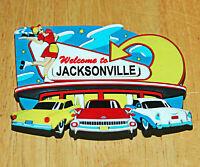 Vintage Welcome to Jacksonville Car Hop Fridge Magnet Florida Travel Souvenir