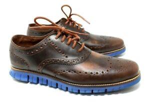 COLE HAAN ZEROGRAND Men's Wingtip Oxford Shoes Brown Blue Leather Size 9 M VGUC