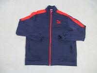 Puma Jacket Adult 2XL XXL Blue Red Full Zip Track Coat Long Sleeve Casual Mens